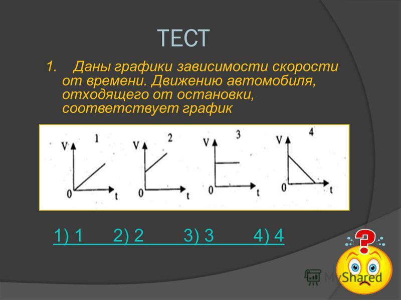 ТЕСТ 1. Даны графики зависимости скорости от времени. Движению автомобиля, отходящего от остановки, соответствует график 1) 1 2) 2 3) 3 4) 4