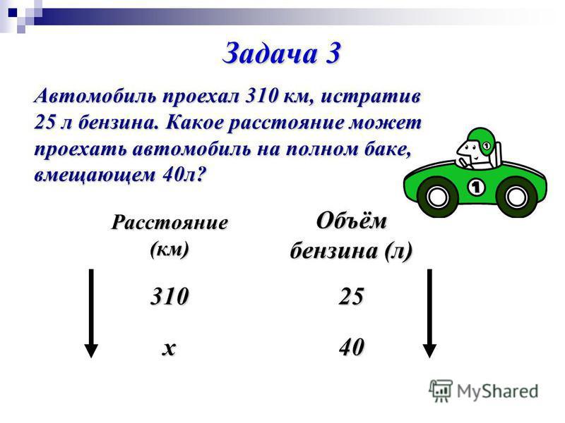 Задача 3 Автомобиль проехал 310 км, истратив 25 л бензина. Какое расстояние может проехать автомобиль на полном баке, вмещающем 40 л? Расстояние (км) Объём бензина (л) 31025 х 40