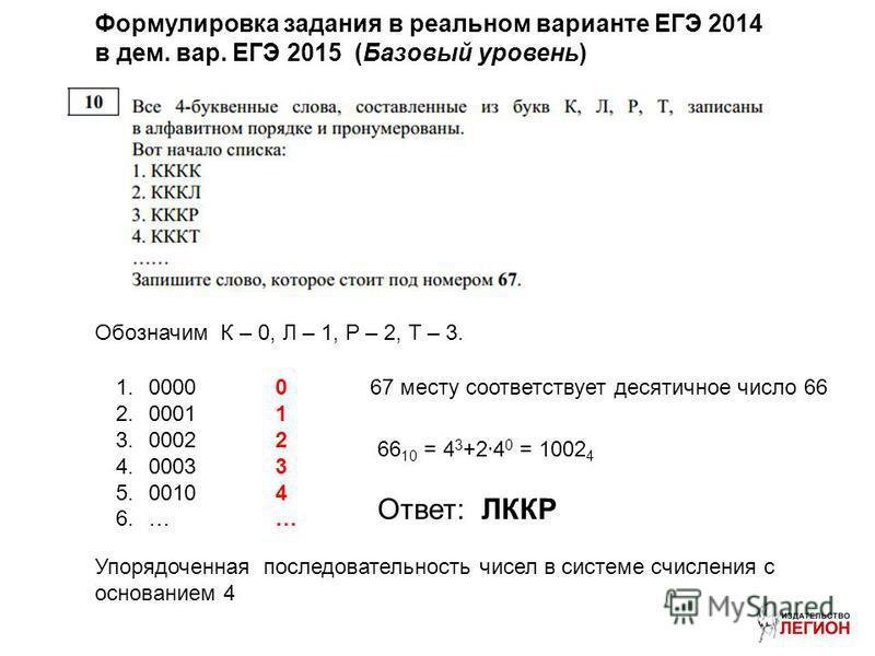 Формулировка задания в реальном варианте ЕГЭ 2014 в дом. вар. ЕГЭ 2015 (Базовый уровень) Обозначим К – 0, Л – 1, Р – 2, Т – 3. 1.0000 2.0001 3.0002 4.0003 5.0010 6.… Упорядоченная последовательность чисел в системе счисления с основанием 4 01234…0123