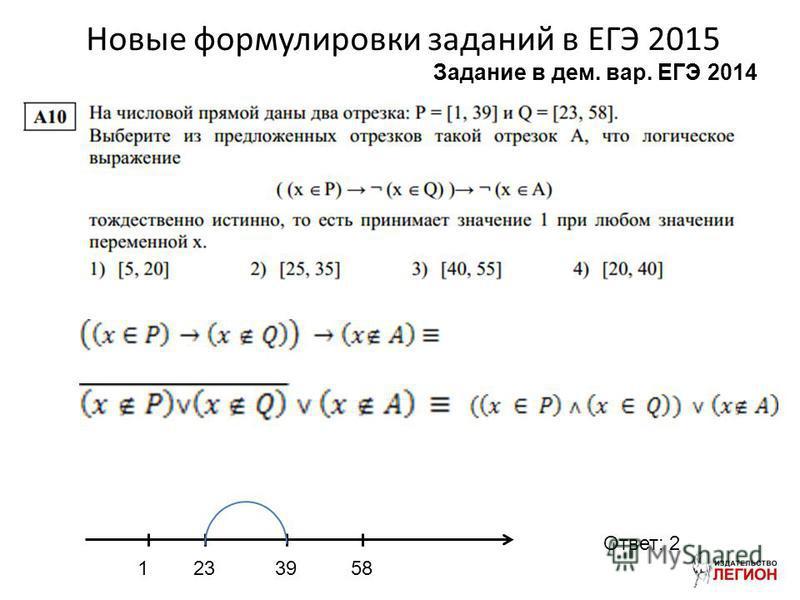 Новые формулировки заданий в ЕГЭ 2015 1233958 Ответ: 2 Задание в дом. вар. ЕГЭ 2014