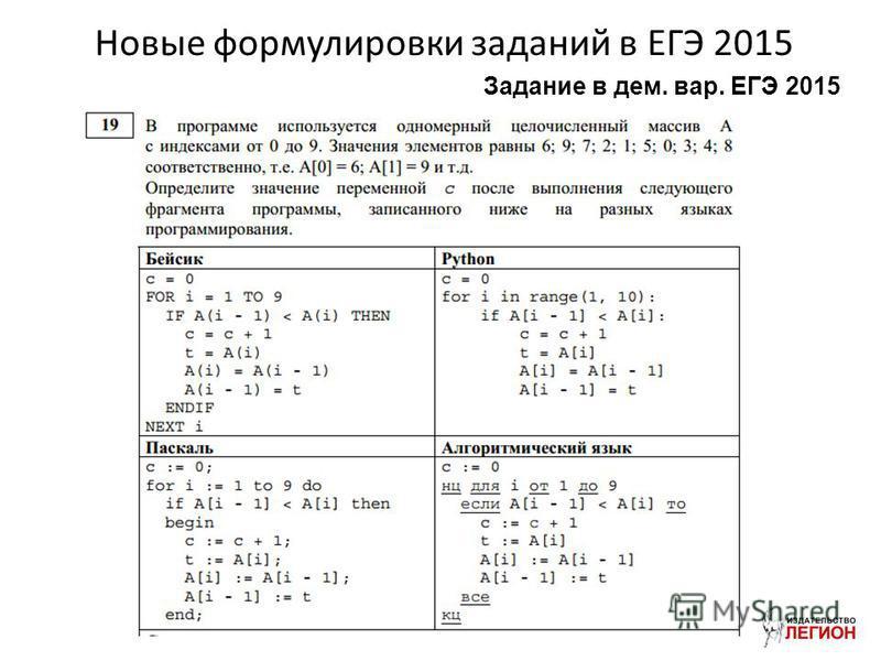 Новые формулировки заданий в ЕГЭ 2015 Задание в дом. вар. ЕГЭ 2015