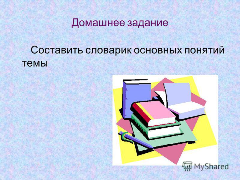 Домашнее задание Составить словарик основных понятий темы