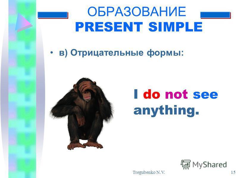 Tregubenko N.V. 15 ОБРАЗОВАНИЕ PRESENT SIMPLE в) Отрицательные формы: I do not see anything.