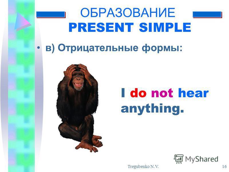 Tregubenko N.V. 16 ОБРАЗОВАНИЕ PRESENT SIMPLE в) Отрицательные формы: I do not hear anything.
