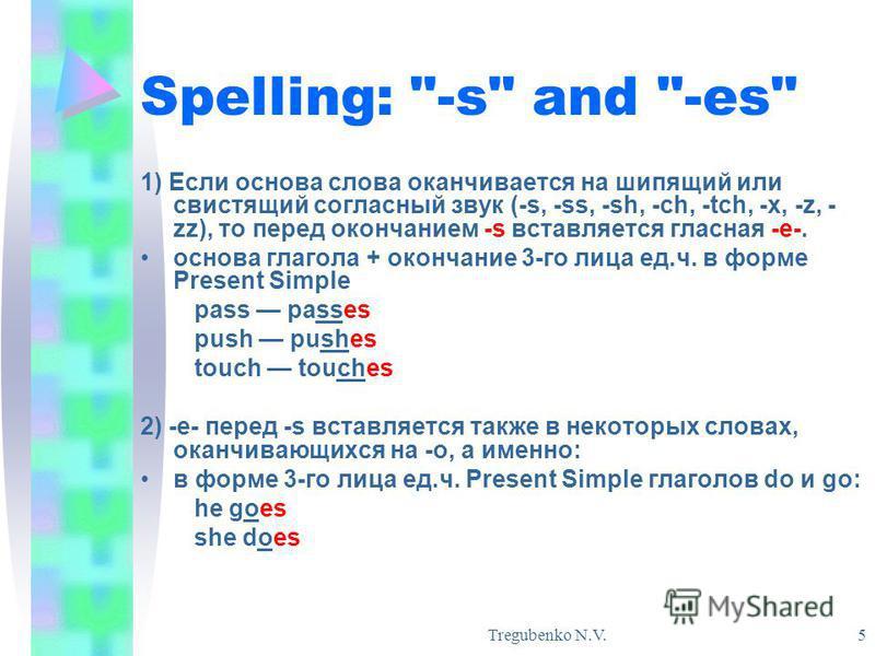 Tregubenko N.V. 5 Spelling: