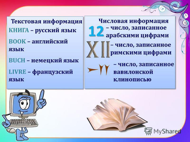 КНИГА – русский язык BOOK – английский язык BUCH – немецкий язык LIVRE – французский язык КНИГА – русский язык BOOK – английский язык BUCH – немецкий язык LIVRE – французский язык 12 – число, записанное арабскими цифрами – число, записанное римскими