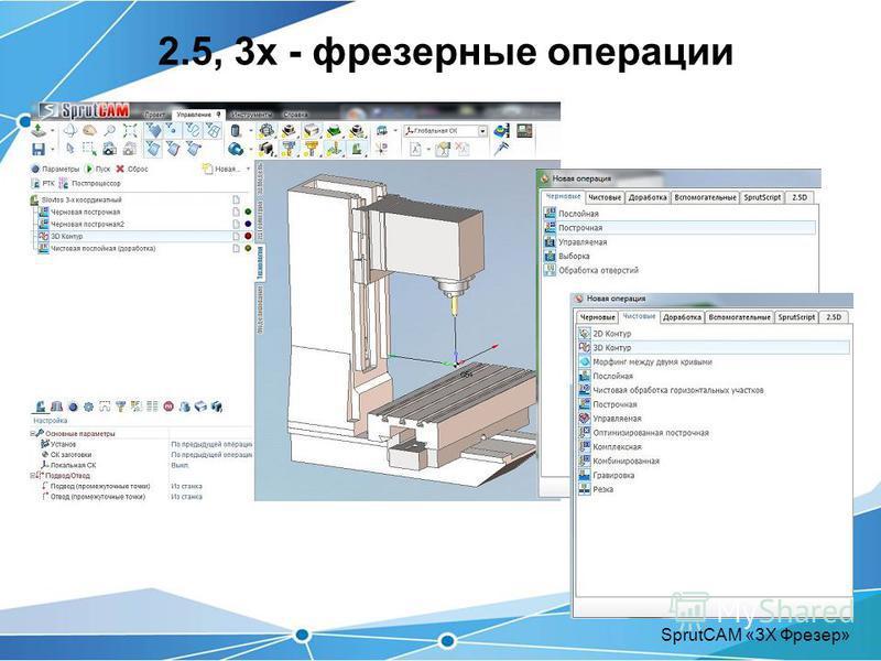 2.5, 3 х - фрезерные операции SprutCAM «3Х Фрезер»