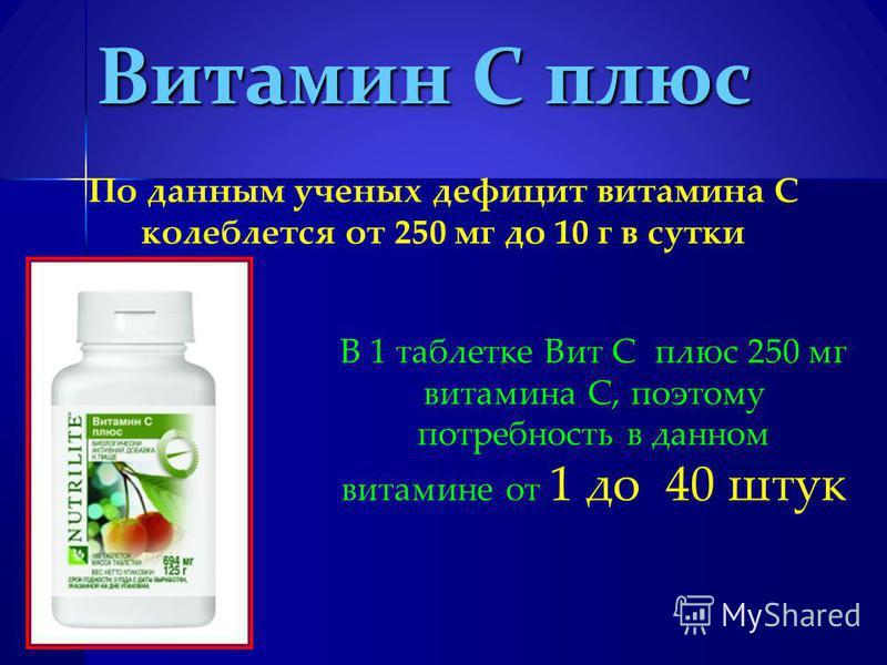 Витамин С плюс По данным ученых дефицит витамина С колеблется от 250 мг до 10 г в сутки В 1 таблетке Вит С плюс 250 мг витамина С, поэтому потребность в данном витамине от 1 до 40 штук