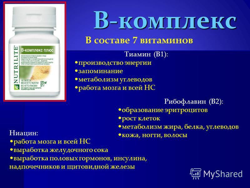 В-комплекс В составе 7 витаминов Тиамин (В1): производство энергии запоминание метаболизм углеводов работа мозга и всей НС Рибофлавин (В2): образование эритроцитов рост клеток метаболизм жира, белка, углеводов кожа, ногти, волосы Ниацин: работа мозга