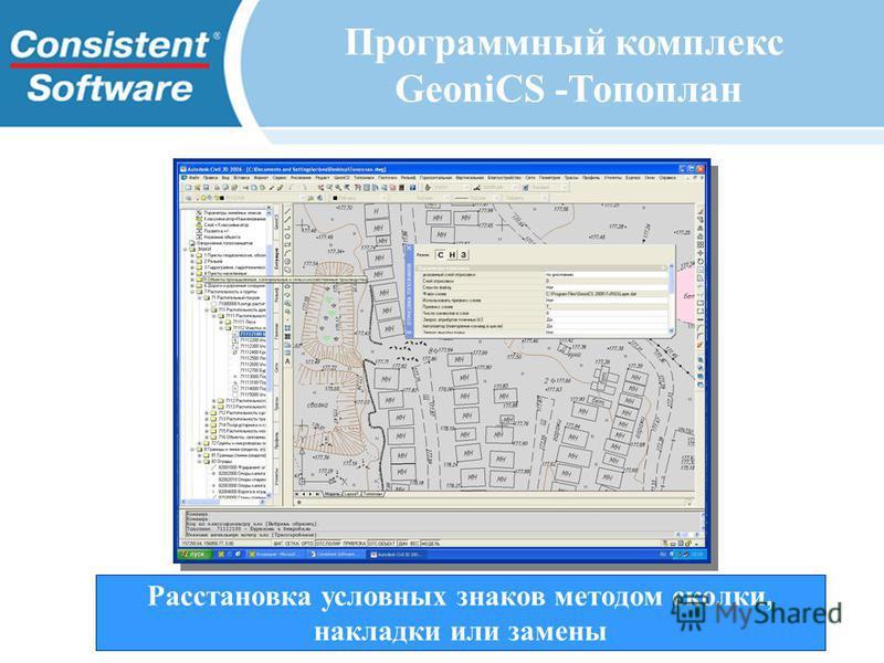 Расстановка условных знаков методом сколки, накладки или замены Программный комплекс GeoniCS -Топоплан