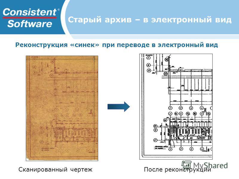 Старый архив – в электронный вид Реконструкция «синек» при переводе в электронный вид Сканированный чертеж После реконструкции