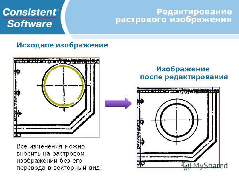 Редактирование растрового изображения Исходное изображение Изображение после редактирования Все изменения можно вносить на растровом изображении без его перевода в векторный вид!