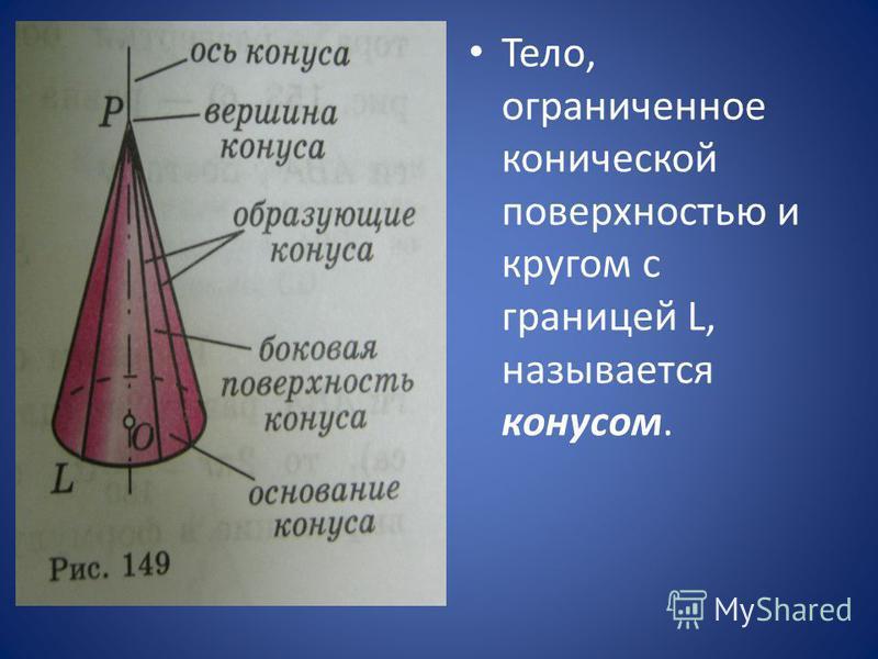 Тело, ограниченное конической поверхностью и кругом с границей L, называется конусом.