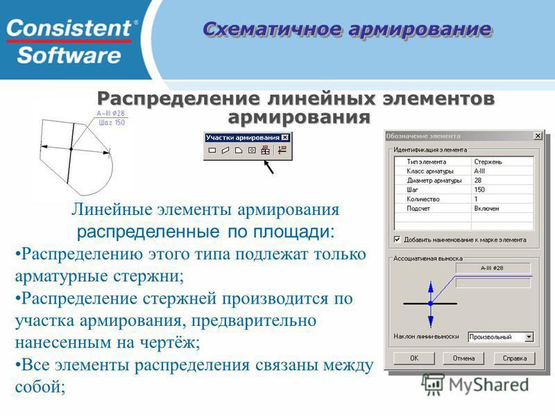 Линейные элементы армирования распределенные по площади: Распределению этого типа подлежат только арматурные стержни; Распределение стержней производится по участка армирования, предварительно нанесенным на чертёж; Все элементы распределения связаны