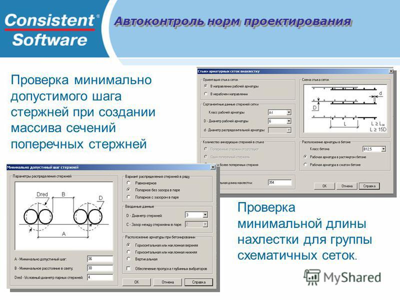 Проверка минимальной длины нахлестки для группы схематичных сеток. Проверка минимально допустимого шага стержней при создании массива сечений поперечных стержней Автоконтроль норм проектирования