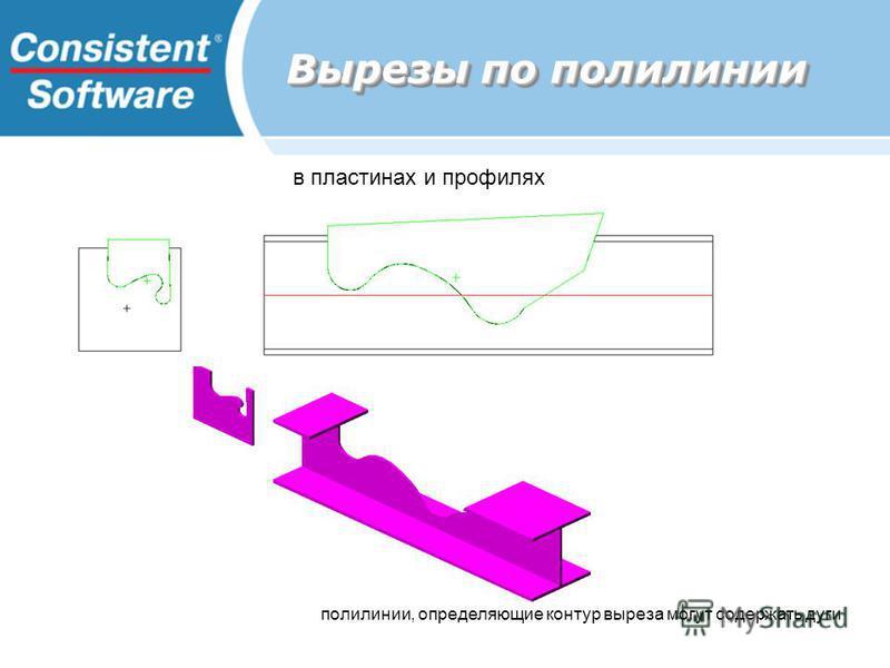 Вырезы по полилинии полилинии, определяющие контур выреза могут содержать дуги в пластинах и профилях