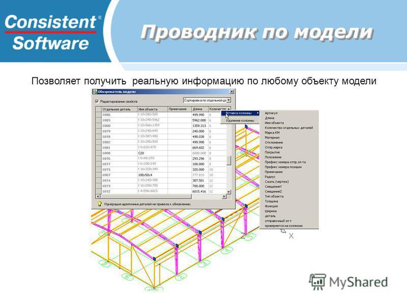 Проводник по модели Позволяет получить реальную информацию по любому объекту модели