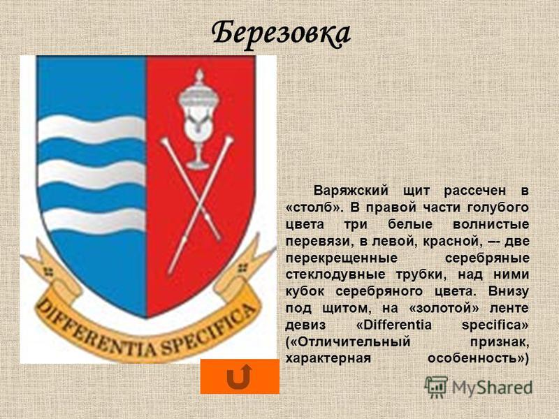 Березовка Варяжский щит рассечен в «столб». В правой части голубого цвета три белые волнистые перевязи, в левой, красной, –- две перекрещенные серебряные стеклодувные трубки, над ними кубок серебряного цвета. Внизу под щитом, на «золотой» ленте девиз