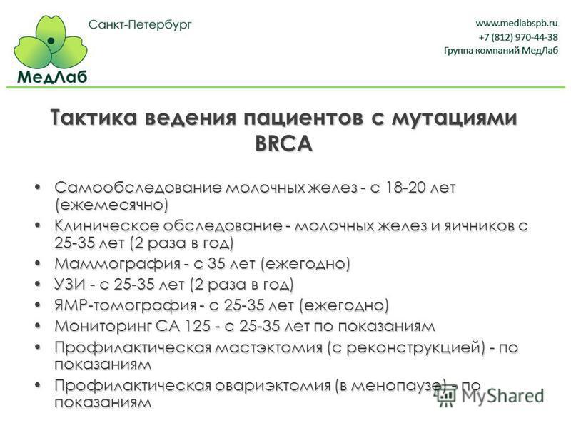 Тактика ведения пациентов с мутациями BRCA Самообследование молочных желез - с 18-20 лет (ежемесячно)Самообследование молочных желез - с 18-20 лет (ежемесячно) Клиническое обследование - молочных желез и яичников с 25-35 лет (2 раза в год)Клиническое