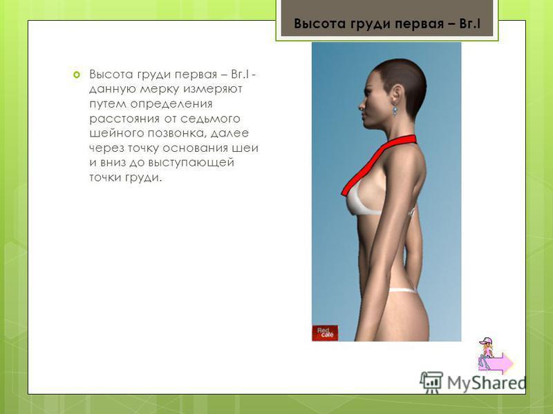 Высота груди первая – Вг.I - данную мерку измеряют путем определения расстояния от седьмого шейного позвонка, далее через точку основания шеи и вниз до выступающей точки груди. Высота груди первая – Вг.I