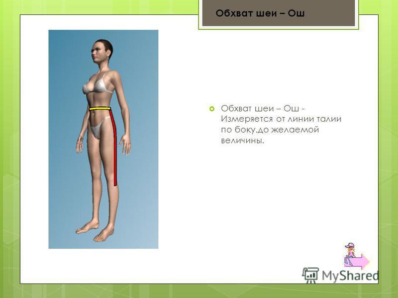 Обхват шеи – Ош - Измеряется от линии талии по боку.до желаемой величины. Обхват шеи – Ош