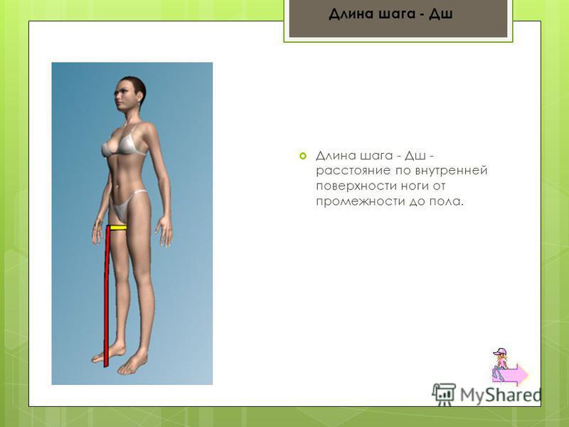 Длина шага - Дш - расстояние по внутренней поверхности ноги от промежности до пола. Длина шага - Дш