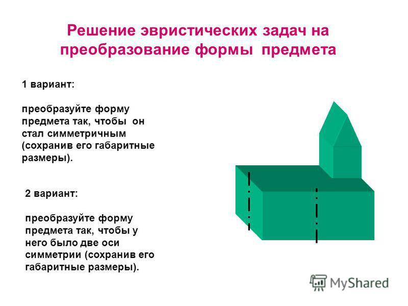 Решение эвристических задач на преобразование формы предмета 1 вариант: преобразуйте форму предмета так, чтобы он стал симметричным (сохранив его габаритные размеры). 2 вариант: преобразуйте форму предмета так, чтобы у него было две оси симметрии (со