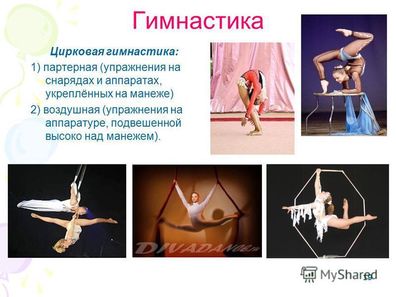 19 Гимнастика Цирковая гимнастика: 1) партерная (упражнения на снарядах и аппаратах, укреплённых на манеже) 2) воздушная (упражнения на аппаратуре, подвешенной высоко над манежем).