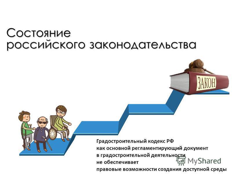 Состояние российского законодательства Градостроительный кодекс РФ как основной регламентирующий документ в градостроительной деятельности не обеспечивает правовые возможности создания доступной среды