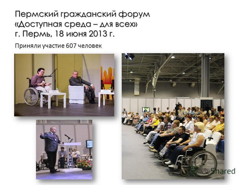 Пермский гражданский форум «Доступная среда – для всех» г. Пермь, 18 июня 2013 г. Приняли участие 607 человек