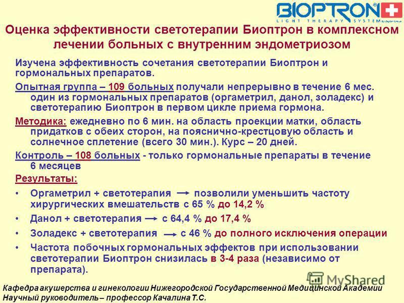 Оценка эффективности светотерапии Биоптрон в комплексном лечении больных с внутренним эндометриозом Изучена эффективность сочетания светотерапии Биоптрон и гормональных препаратов. Опытная группа – 109 больных получали непрерывно в течение 6 мес. оди
