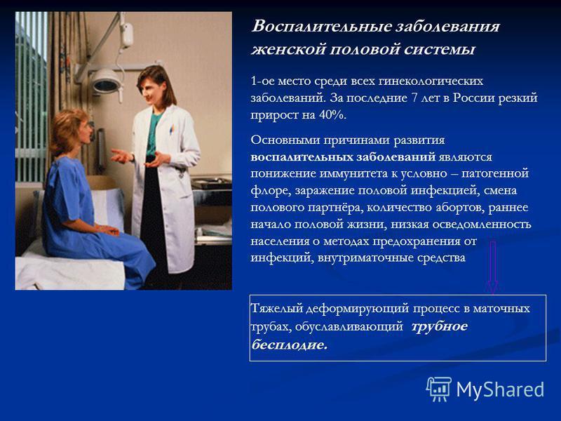 Воспалительные заболевания женской половой системы 1-ое место среди всех гинекологических заболеваний. За последние 7 лет в России резкий прирост на 40%. Основными причинами развития воспалительных заболеваний являются понижение иммунитета к условно