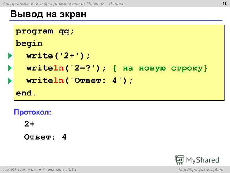 Алгоритмизация и программирование, Паскаль, 10 класс К.Ю. Поляков, Е.А. Ерёмин, 2013 http://kpolyakov.spb.ru Вывод на экран 10 program qq; begin write('2+'); { без перехода } writeln('2=?'); { на новую строку} writeln('Ответ: 4'); end. program qq; be