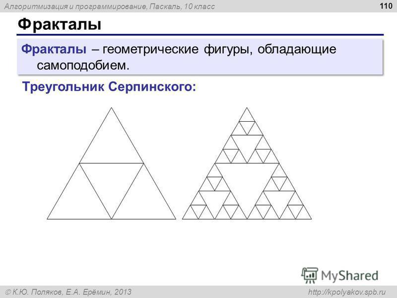 Алгоритмизация и программирование, Паскаль, 10 класс К.Ю. Поляков, Е.А. Ерёмин, 2013 http://kpolyakov.spb.ru Фракталы 110 Фракталы – геометрические фигуры, обладающие самоподобием. Треугольник Серпинского: