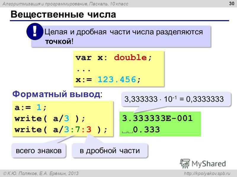 Алгоритмизация и программирование, Паскаль, 10 класс К.Ю. Поляков, Е.А. Ерёмин, 2013 http://kpolyakov.spb.ru Вещественные числа 30 Целая и дробная части числа разделяются точкой! ! var x: double;... x:= 123.456; var x: double;... x:= 123.456; Форматн