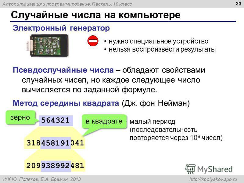Алгоритмизация и программирование, Паскаль, 10 класс К.Ю. Поляков, Е.А. Ерёмин, 2013 http://kpolyakov.spb.ru Случайные числа на компьютере 33 Электронный генератор нужно специальное устройство нельзя воспроизвести результаты 318458191041 564321 20993
