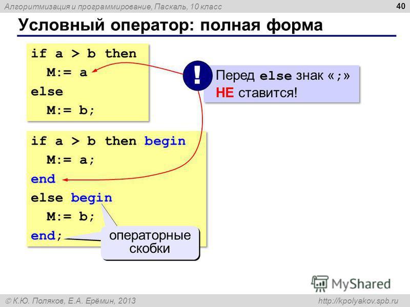 Алгоритмизация и программирование, Паскаль, 10 класс К.Ю. Поляков, Е.А. Ерёмин, 2013 http://kpolyakov.spb.ru Условный оператор: полная форма 40 if a > b then M:= a else M:= b; if a > b then M:= a else M:= b; if a > b then begin M:= a; end else begin