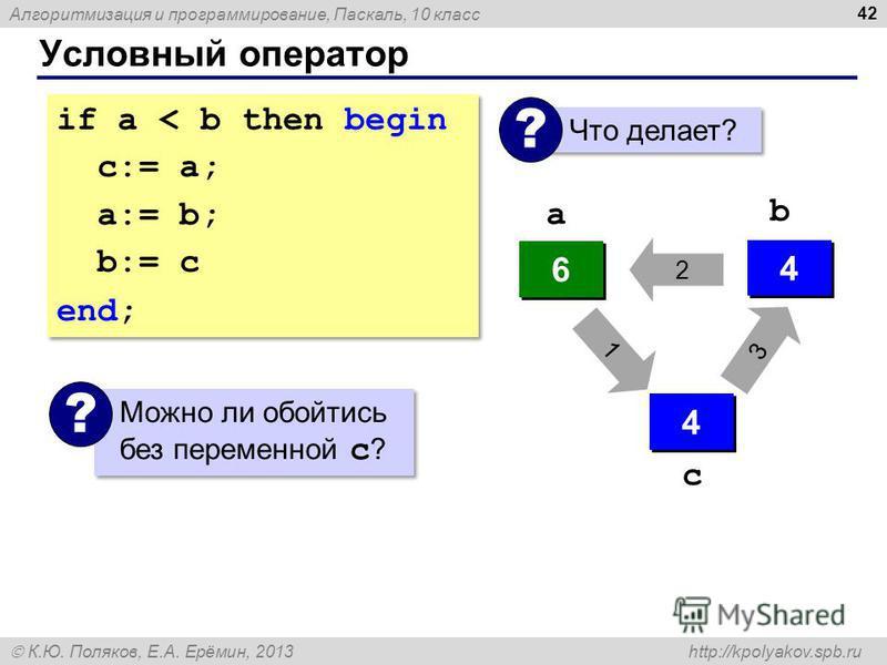 Алгоритмизация и программирование, Паскаль, 10 класс К.Ю. Поляков, Е.А. Ерёмин, 2013 http://kpolyakov.spb.ru Условный оператор 42 if a < b then begin с:= a; a:= b; b:= c end; if a < b then begin с:= a; a:= b; b:= c end; Что делает? ? 4 4 6 6 ? ? 4 4
