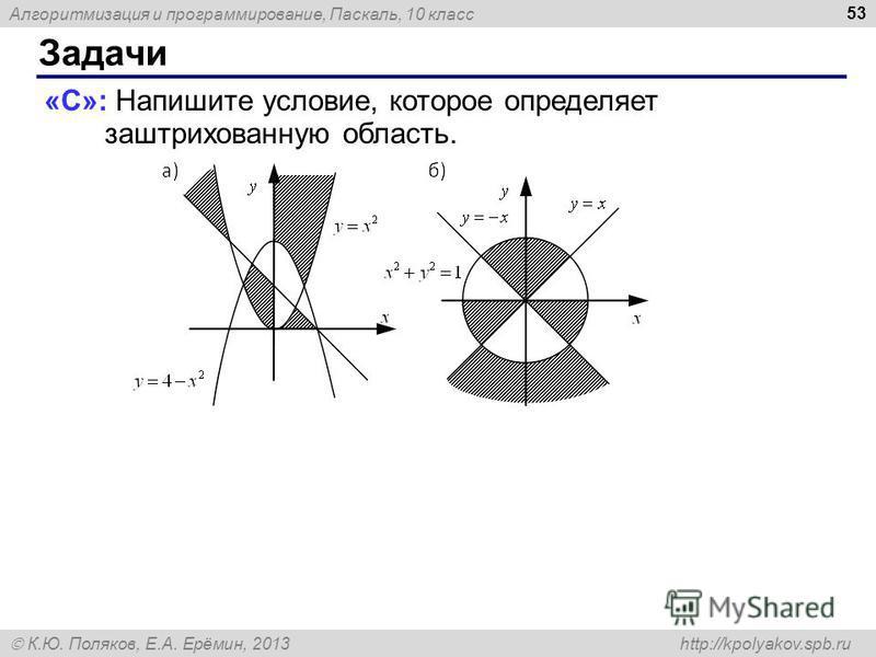 Алгоритмизация и программирование, Паскаль, 10 класс К.Ю. Поляков, Е.А. Ерёмин, 2013 http://kpolyakov.spb.ru Задачи 53 «C»: Напишите условие, которое определяет заштрихованную область.