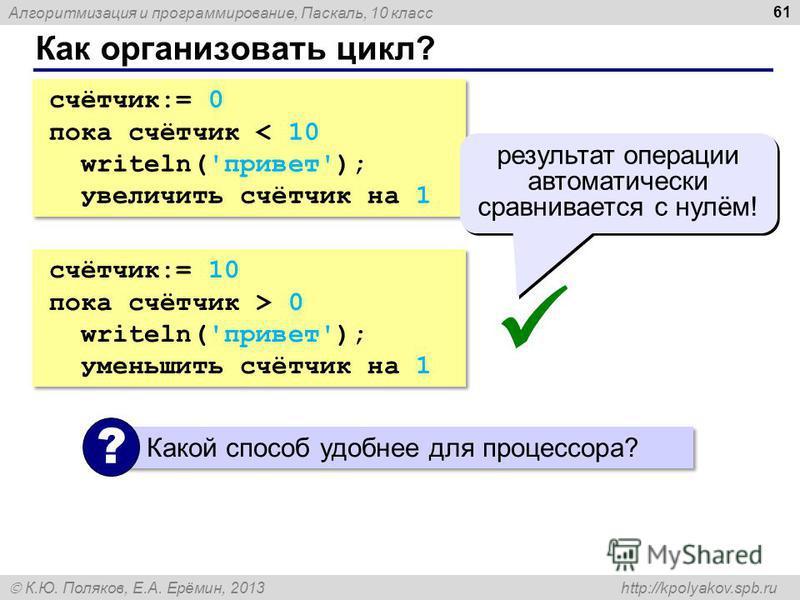 Алгоритмизация и программирование, Паскаль, 10 класс К.Ю. Поляков, Е.А. Ерёмин, 2013 http://kpolyakov.spb.ru Как организовать цикл? 61 счётчик:= 0 пока счётчик < 10 writeln('привет'); увеличить счётчик на 1 счётчик:= 0 пока счётчик < 10 writeln('прив