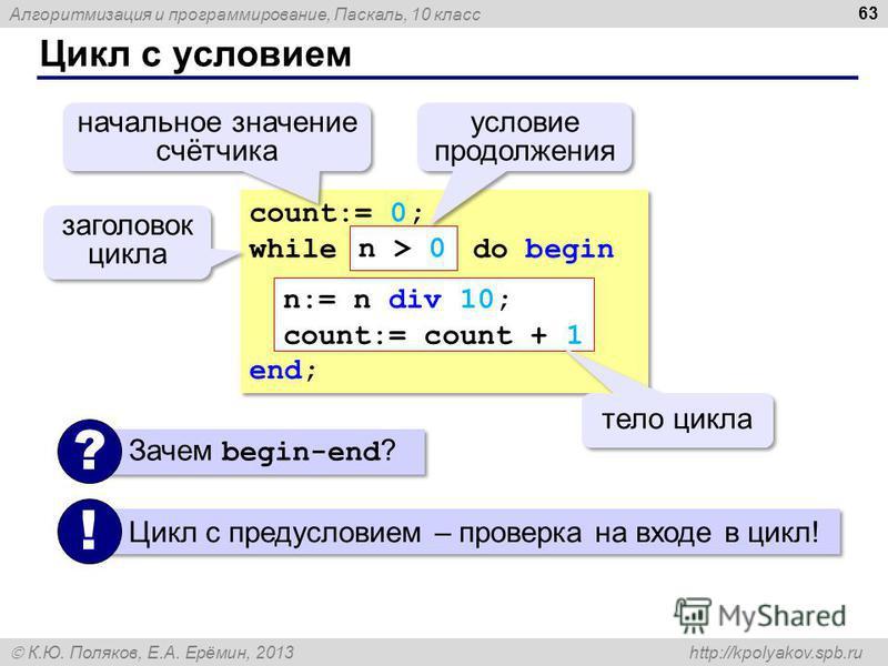 Алгоритмизация и программирование, Паскаль, 10 класс К.Ю. Поляков, Е.А. Ерёмин, 2013 http://kpolyakov.spb.ru Цикл с условием 63 count:= 0; while do begin end; count:= 0; while do begin end; n:= n div 10; count:= count + 1 тело цикла начальное значени