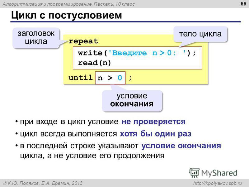 Алгоритмизация и программирование, Паскаль, 10 класс К.Ю. Поляков, Е.А. Ерёмин, 2013 http://kpolyakov.spb.ru Цикл с постусловием 66 repeat until ; repeat until ; условие окончания заголовок цикла write('Введите n > 0: '); read(n) n > 0 тело цикла при