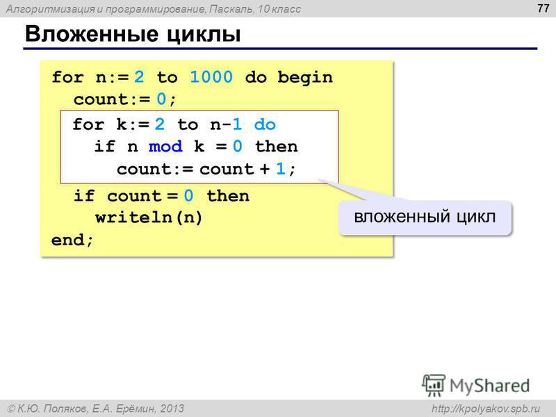 Алгоритмизация и программирование, Паскаль, 10 класс К.Ю. Поляков, Е.А. Ерёмин, 2013 http://kpolyakov.spb.ru Вложенные циклы 77 for n:= 2 to 1000 do begin count:= 0; if count = 0 then writeln(n) end; for n:= 2 to 1000 do begin count:= 0; if count = 0