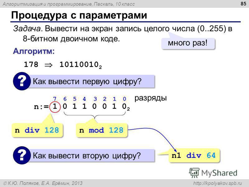Алгоритмизация и программирование, Паскаль, 10 класс К.Ю. Поляков, Е.А. Ерёмин, 2013 http://kpolyakov.spb.ru Процедура с параметрами 85 Задача. Вывести на экран запись целого числа (0..255) в 8-битном двоичном коде. много раз! Алгоритм: 178 10110010