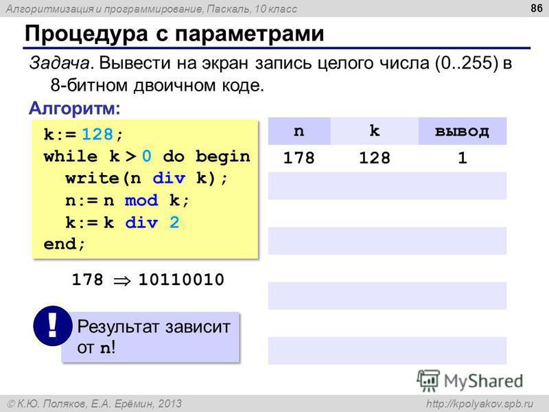 Алгоритмизация и программирование, Паскаль, 10 класс К.Ю. Поляков, Е.А. Ерёмин, 2013 http://kpolyakov.spb.ru Процедура с параметрами 86 Задача. Вывести на экран запись целого числа (0..255) в 8-битном двоичном коде. Алгоритм: k:= 128; while k > 0 do