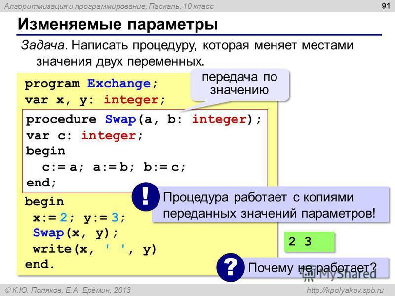 Алгоритмизация и программирование, Паскаль, 10 класс К.Ю. Поляков, Е.А. Ерёмин, 2013 http://kpolyakov.spb.ru Изменяемые параметры 91 Задача. Написать процедуру, которая меняет местами значения двух переменных. program Exchange; var x, y: integer; beg