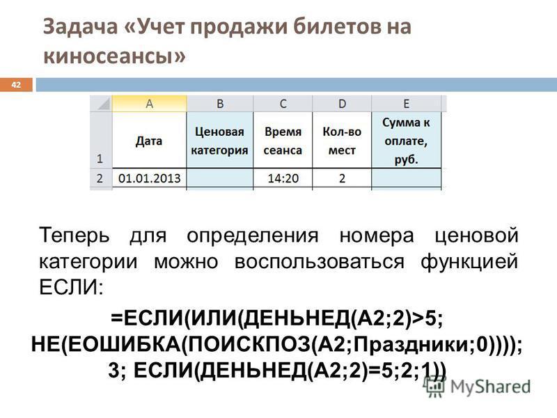 Задача « Учет продажи билетов на киносеансы » 42 Теперь для определения номера ценовой категории можно воспользоваться функцией ЕСЛИ: =ЕСЛИ(ИЛИ(ДЕНЬНЕД(A2;2)>5; НЕ(ЕОШИБКА(ПОИСКПОЗ(A2;Праздники;0)))); 3; ЕСЛИ(ДЕНЬНЕД(A2;2)=5;2;1))