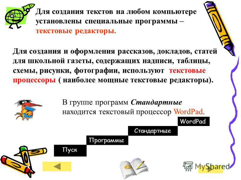 Для создания текстов на любом компьютере установлены специальные программы – текстовые редакторы. Для создания и оформления рассказов, докладов, статей для школьной газеты, содержащих надписи, таблицы, схемы, рисунки, фотографии, используют текстовые