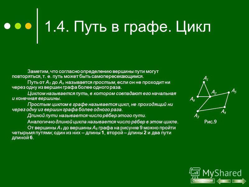 1.4. Путь в графе. Цикл Заметим, что согласно определению вершины пути могут повторяться, т. е. путь может быть самопересекающимся. Путь от А 1 до А n называется простым, если он не проходит ни через одну из вершин графа более одного раза. Циклом наз
