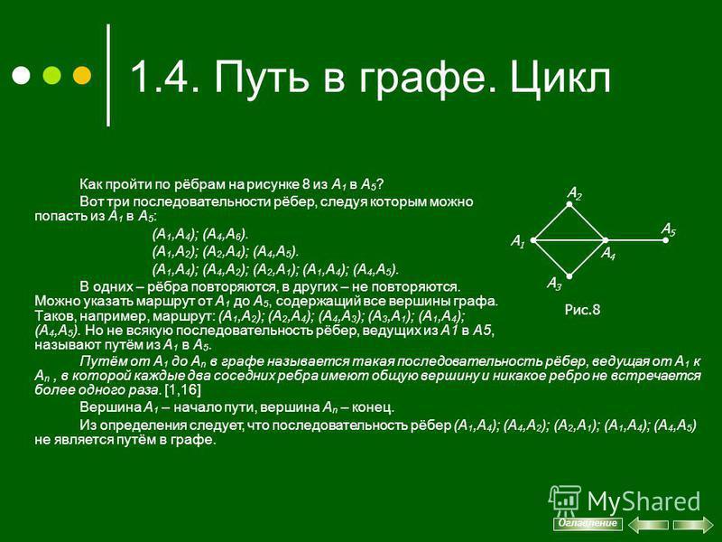 1.4. Путь в графе. Цикл Как пройти по рёбрам на рисунке 8 из А 1 в А 5 ? Вот три последовательности рёбер, следуя которым можно попасть из А 1 в А 5 : (А 1,А 4 ); (A 4,A 6 ). (А 1,А 2 ); (А 2,А 4 ); (А 4,А 5 ). (А 1,А 4 ); (А 4,А 2 ); (А 2,А 1 ); (А
